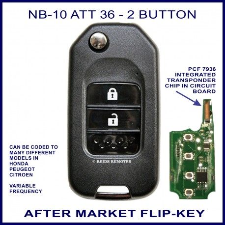 NB10 - ATT 36 - 2 button flip key with integrated PCF7936 transponder chip
