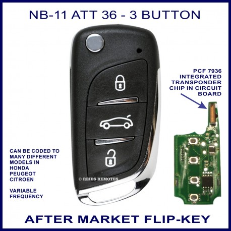 NB11 - ATT 36 - 3 button flip key with integrated PCF7936 transponder chip