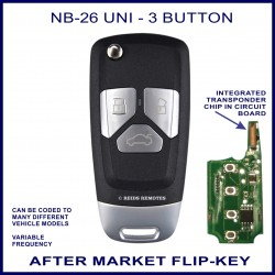 NB26-UNI 3 button flip key with integrated transponder chip