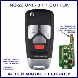 NB26-UNI 3 button plus panic - flip key with integrated transponder chip