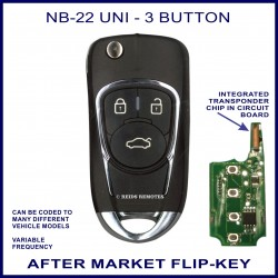 NB22-UNI 3 button flip key with integrated transponder chip