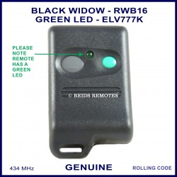 Black Widow GREEN LED grey & aqua button car alarm remote ELV777K - RWB16