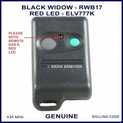 Black Widow Red LED grey & aqua button car alarm remote ELV777K - RWB17