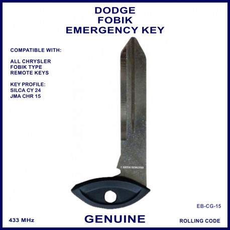 Dodge Fobik remote twist key - emergency key blade Silca CY24 JMA CHR-15