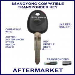 Ssangyong Actyon Sport Kyron Rexton & Stavic manual transponder key cut & cloned