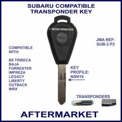 Subaru B9 Tribeca Forester Impreza Legacy, Outback & WRX compatible car key with transponder cloning & key cutting