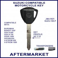 Suzuki Burgman Bandit GSXR Hayabusa & V-Strom compatible bike key with transponder cloning & key cutting
