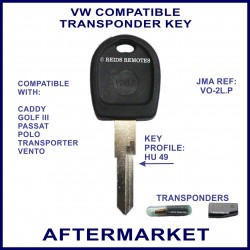 VW Caddy Golf III Passat Polo Transporter compatible car key with transponder cloning & key cutting