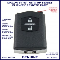 Mazda BT50 UN & UP models - 2 button flip key remote part