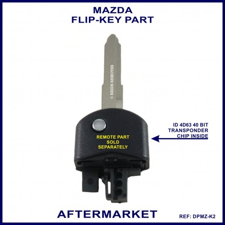 Mazda flip key part - aftermarket key with 4d63 DST40 transponder chip