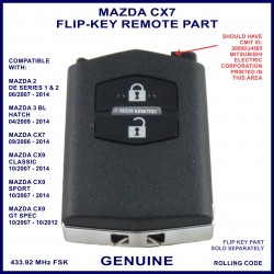 Mazda CX7 2006 - 2014 - genuine 2 button flip key remote part