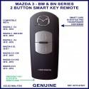 Mazda 3 BM & BN series 2013 - 2018 genuine 2 button smart key remote KDY5 675DY - X1T6919H