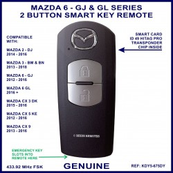 Mazda 6 GJ & GL series from 2012 on - genuine 2 button smart key remote KDY5 675DY - X1T6919H