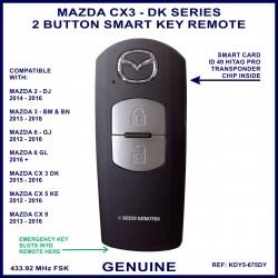Mazda CX3 DK series 2015 - 2016 - genuine 2 button smart key remote KDY5 675DY - X1T6919H