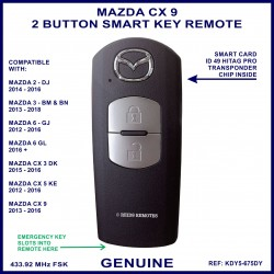 Mazda CX9 series 2013 - 2016 - genuine 2 button smart key remote KDY5 675DY - X1T6919H