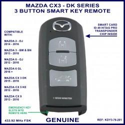 Mazda CX3 DK series 2015 - 2016 - 3 button genuine smart key remote KDY3-76-201