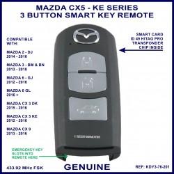 Mazda CX5 KE series 2012 - 2016 - 3 button genuine smart key remote KDY3-76-201