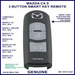 Mazda CX9 2013 - 2016 - 3 button genuine smart key remote KDY3-76-201