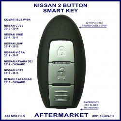 Nissan 2 button smart key - Navara Micra Juke Note Leaf & Cube