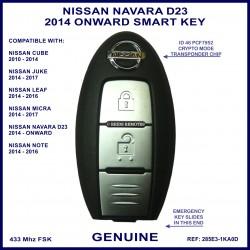 Nissan Navara D23 3rd gen 2014 onward 2 button smart key genuine TWB1G662