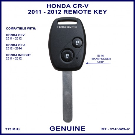 Honda CR-V 2011 - 2012 2 button remote key key genuine 72147-SWA-K1 ID-46