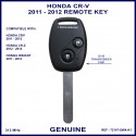 Honda CR-V 2011 - 2012 2 button remote key genuine 72147-SWA-K1 ID-46