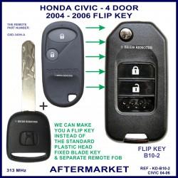 Honda Civic 4 door 2004 - 2006 2 button remote flip key aftermarket G8D-349H-A 313 MHz ID 48