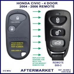 Honda Civic 4 door 2004 - 2006 3 button remote aftermarket G8D-349H-A