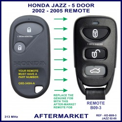 Honda Jazz 5 door 2002 - 2005 3 button remote aftermarket G8D-349H-A