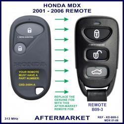 Honda MDX 2001 - 2006 3 button remote aftermarket G8D-349H-A