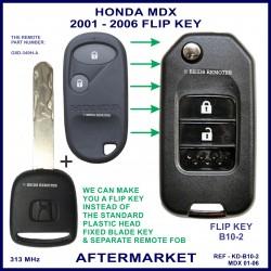 Honda MDX 2001 - 2006 2 button remote flip key aftermarket G8D-349H-A 313 MHz ID 48