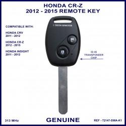 Honda CR-Z 2012 - 2015 2 button remote key genuine 72147-SWA-K1 ID-46