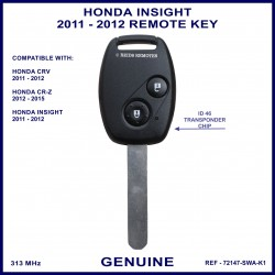 Honda Insight 2011 - 2012 2 button remote key genuine 72147-SWA-K1 ID-46