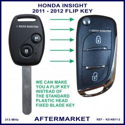 Honda Insight 2011 - 2012 2 button remote flip key key aftermarket