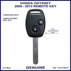 Honda Odyssey 2009 - 2013 2 button remote key genuine 72147-SWA-K1 ID-46