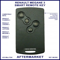 Renault Megane 2008 - 2016 4 button keyless start keycard aftermarket