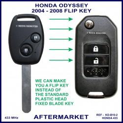 Honda Odyssey 2004 - 2008 2 button remote flip key G8D-382H-A 433MHz aftermarket