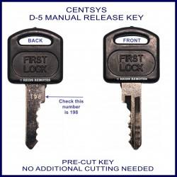 Centsys D5 manual release key No. 198