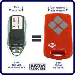 B&D TB5 V2  aftermarket replacement garage remote with 4 buttons